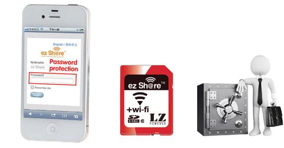 ez Share SD Flashspeicherkarte mit integriertem WLAN - sicher durch Passwort-Authentifizierung