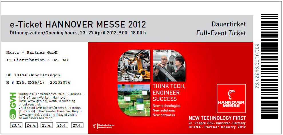 Hannover Messe Ticket anfordern / Get your Hannover Messe pass here