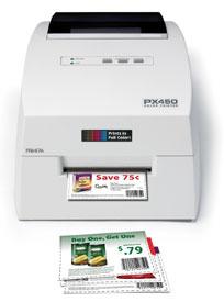 PX450e Farbetiketten und Barcodedrucker