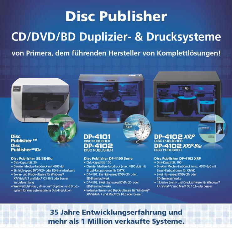 Primera Disc Publisher CD/DVD/BD Duplizier- und Drucksysteme