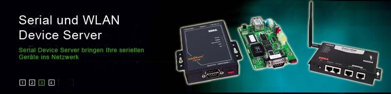 SENA Serial LAN + WLAN Device Server Banner. Serielle Geräte schnell ins Netzwerk, WLAN oder Internet einbinden.