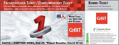 CeBIT Ticket 2009 anfordern